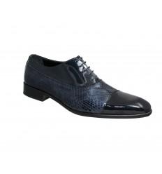 Zapato clásico piel charol combinado con piel de serpiente